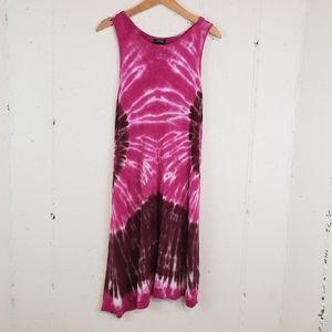 a.n.a. Lg pink/brown tiedye tank dress